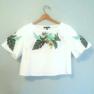 ROMEO+JULIET COUTURE Embroidered Cotton Top Shirt